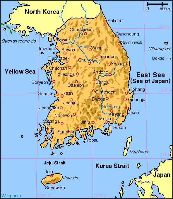 Harta Korea de sud